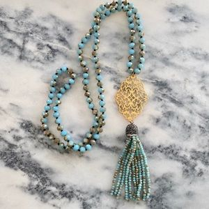 Long Boho Glass Bead Pendant Necklace